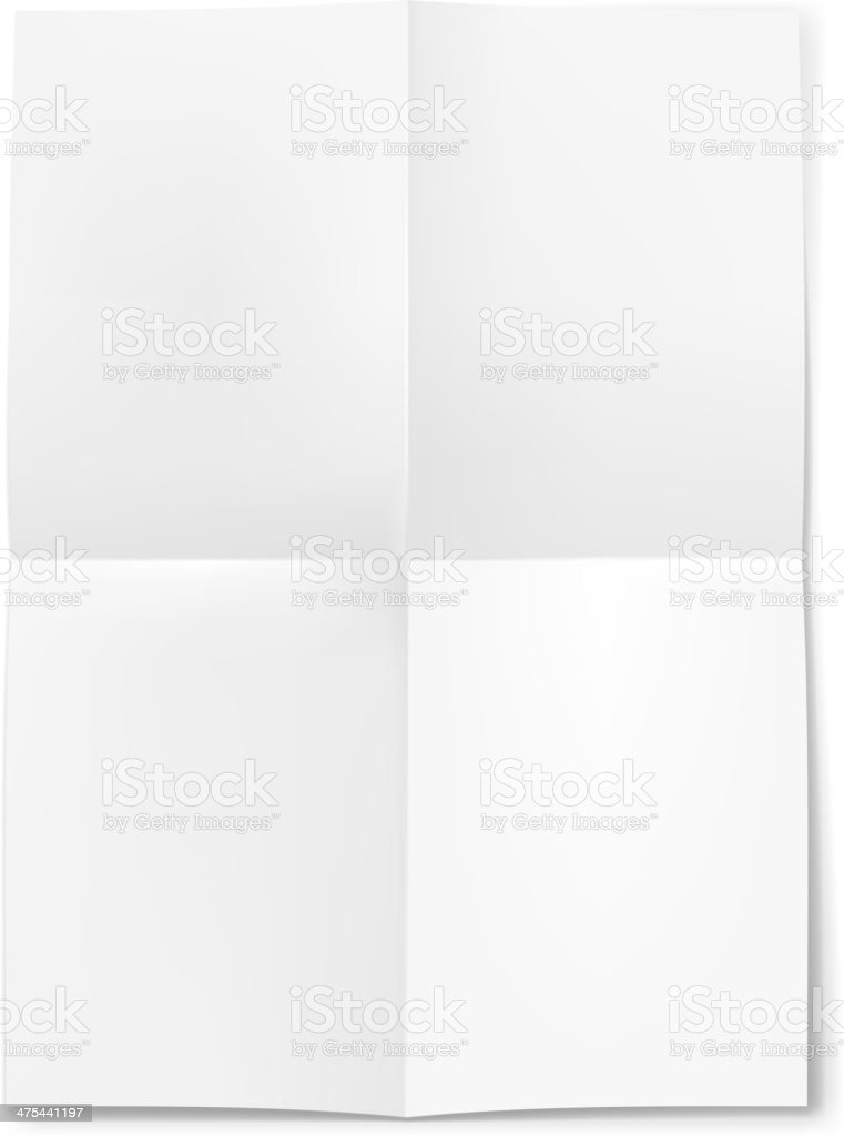 Blank sheet of paper folded in four vector art illustration