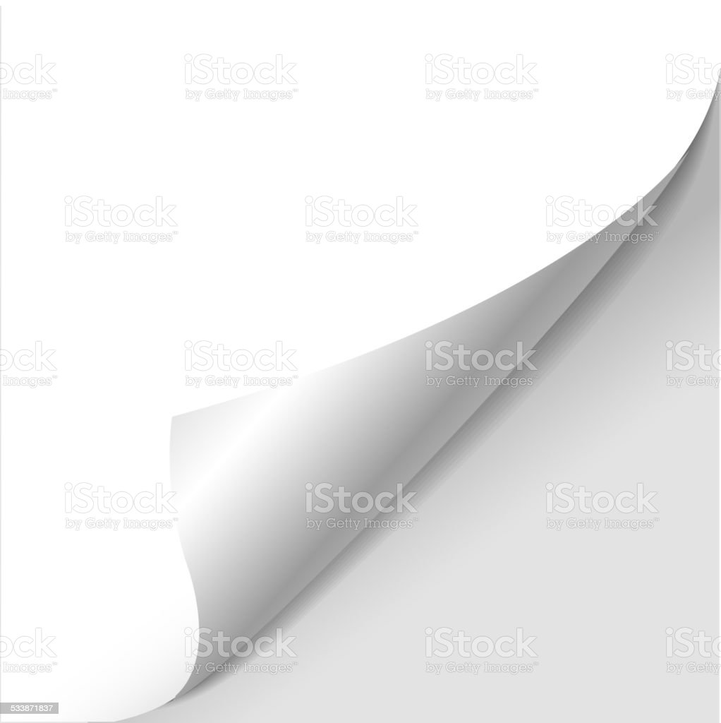 blank sheet of paper with page curl vector art illustration