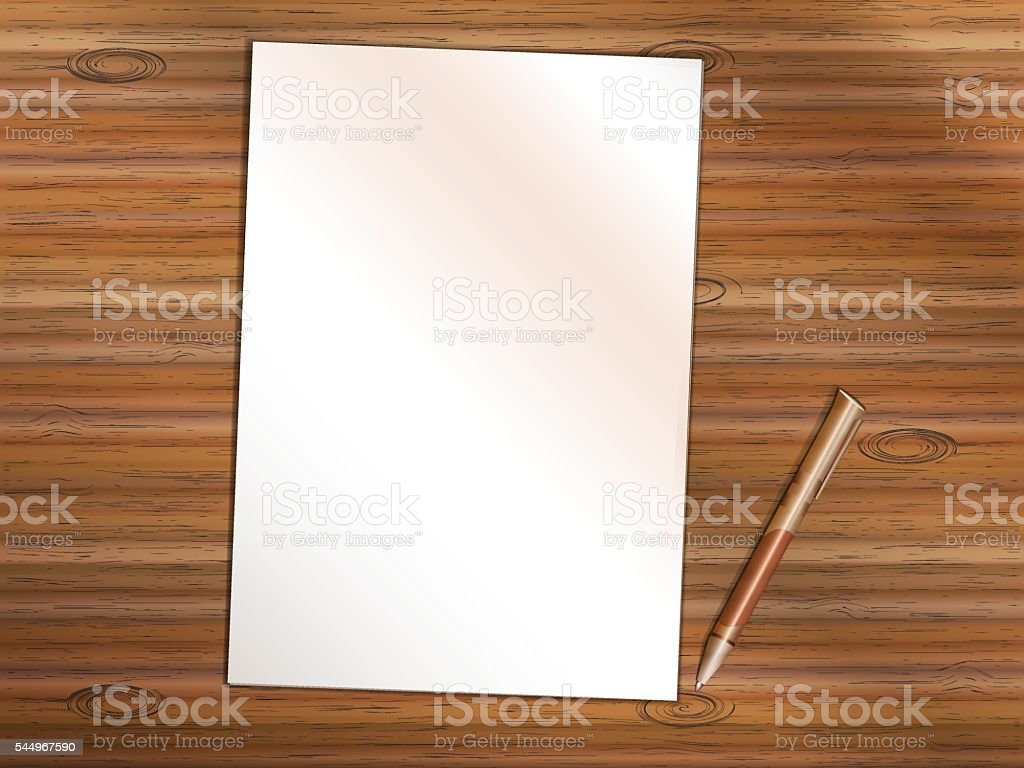 Blank sheet of paper with pen on wooden table vector art illustration