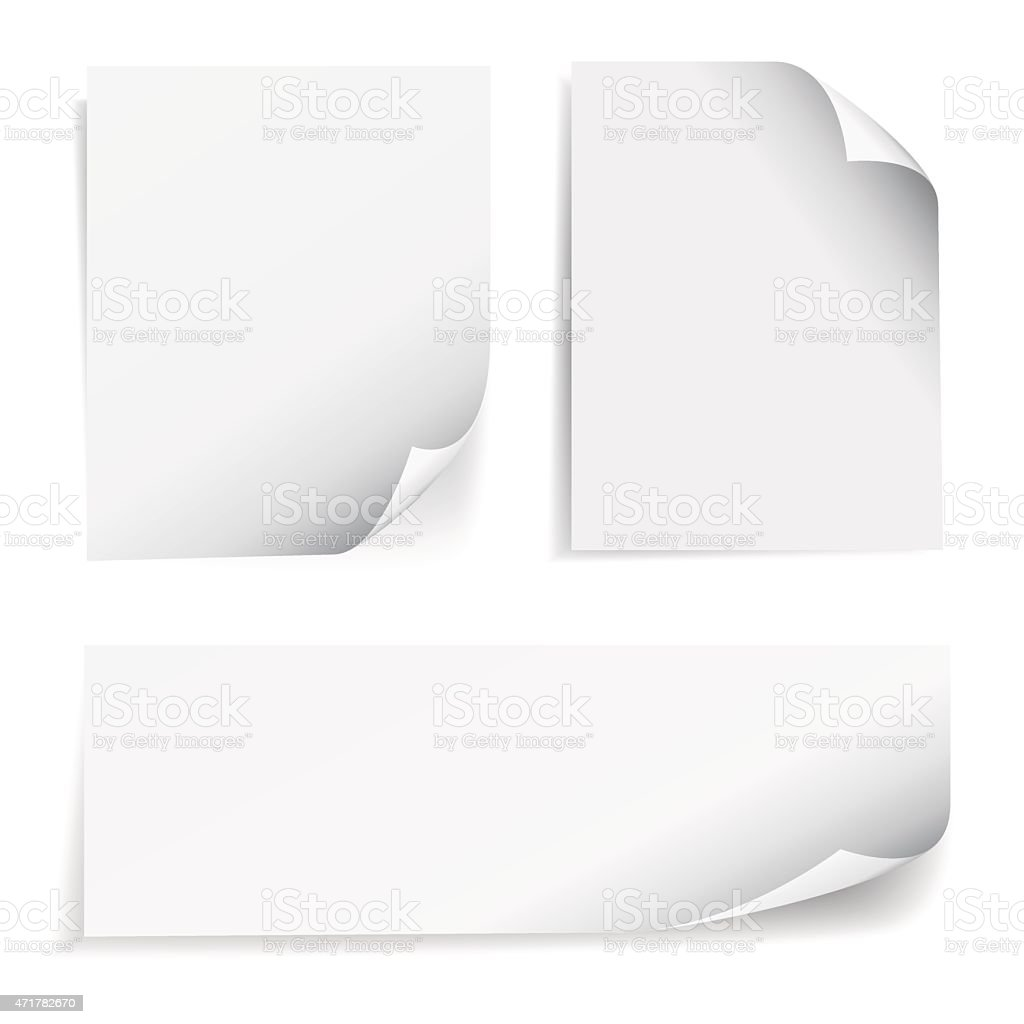 Blank Sheet Paper Page Curl Set vector art illustration
