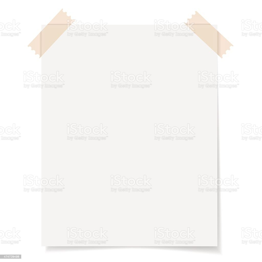 Blank Sheet Paper With Adhesive Tape vector art illustration