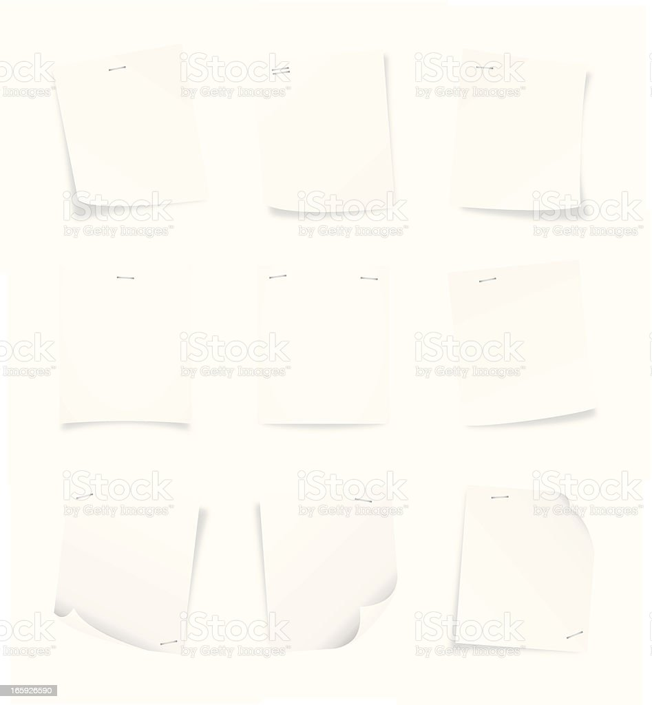Blank sheets of paper with corners folded vector art illustration