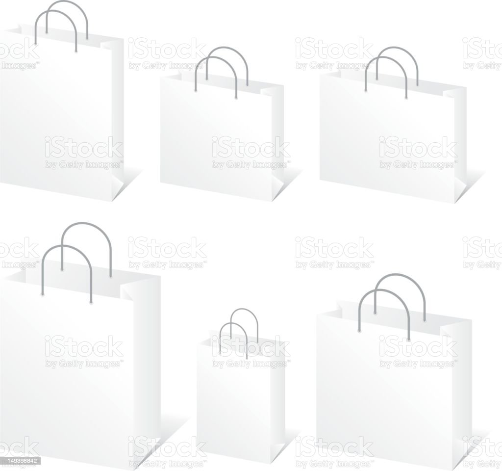 Blank Shopping Bags royalty-free stock vector art