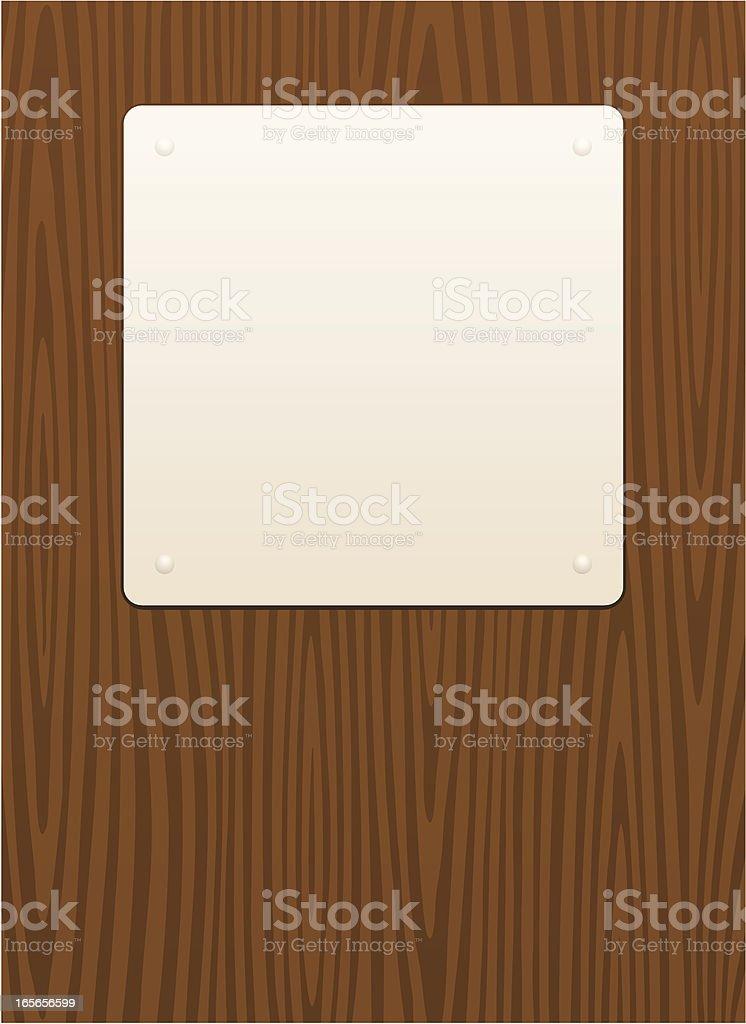Blank sign on dark wood grain background royalty-free stock vector art