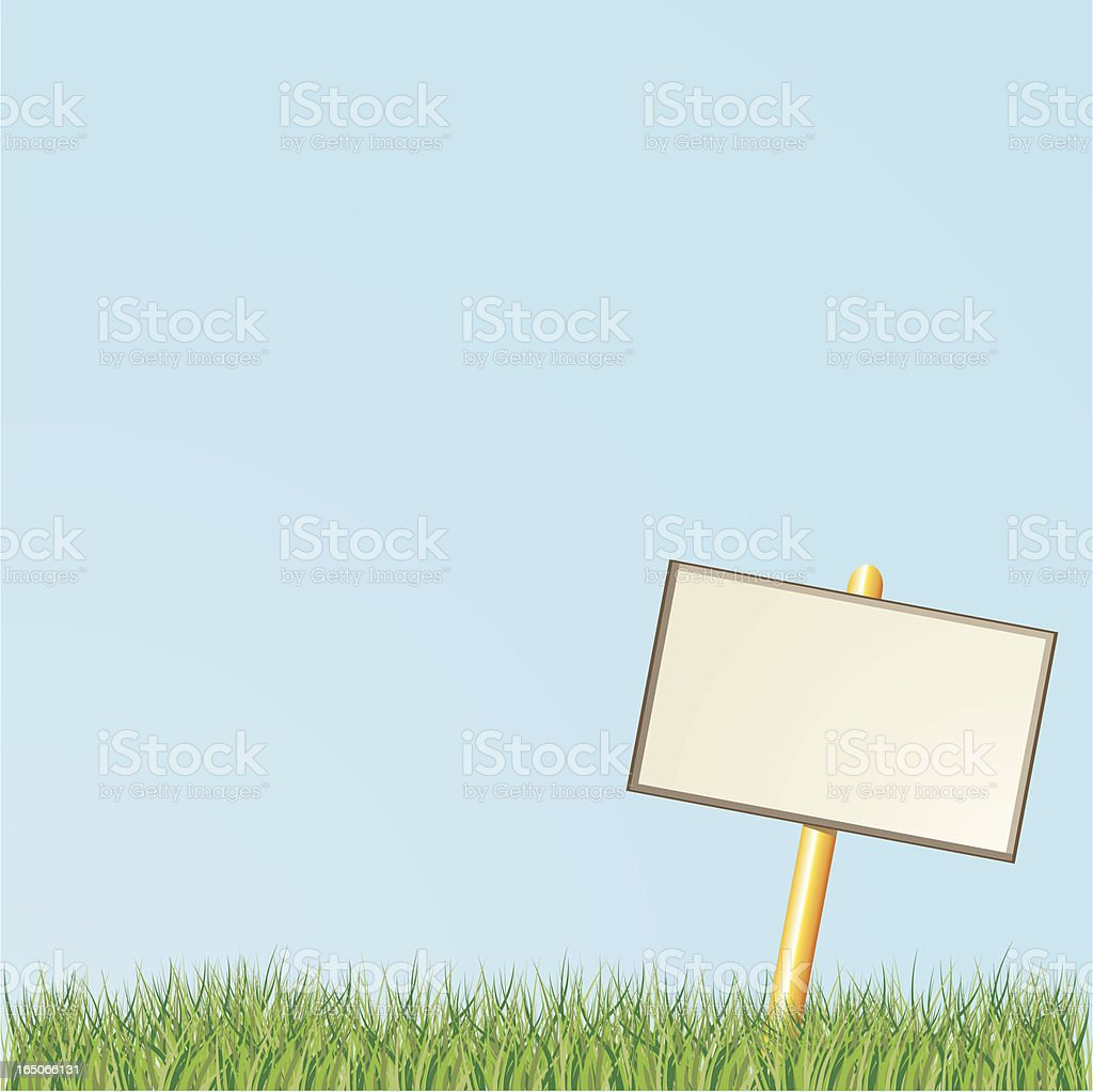 Blank Sign with Grass royalty-free stock vector art