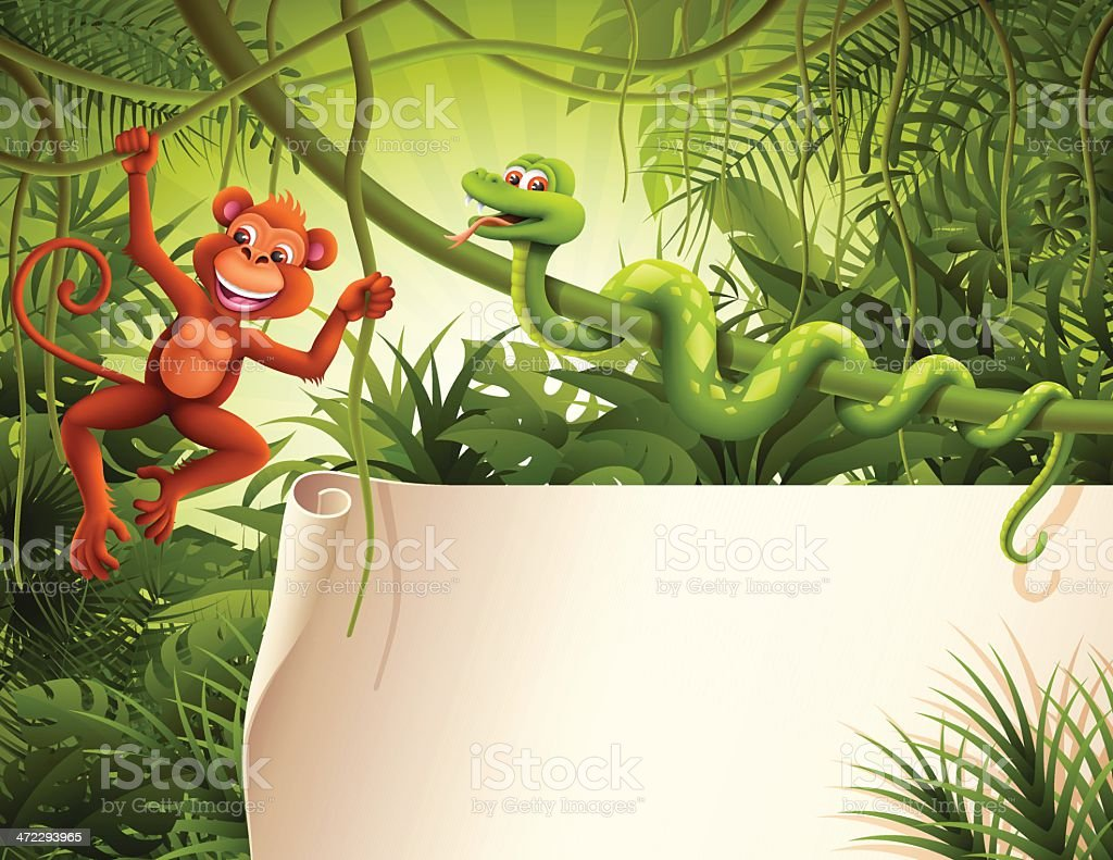 Blank sign with wild animals in the jungle royalty-free stock vector art