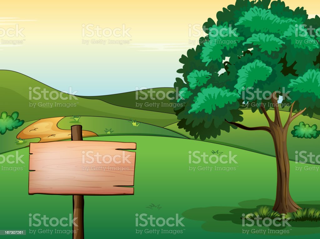Blank signboard and a tree royalty-free stock vector art