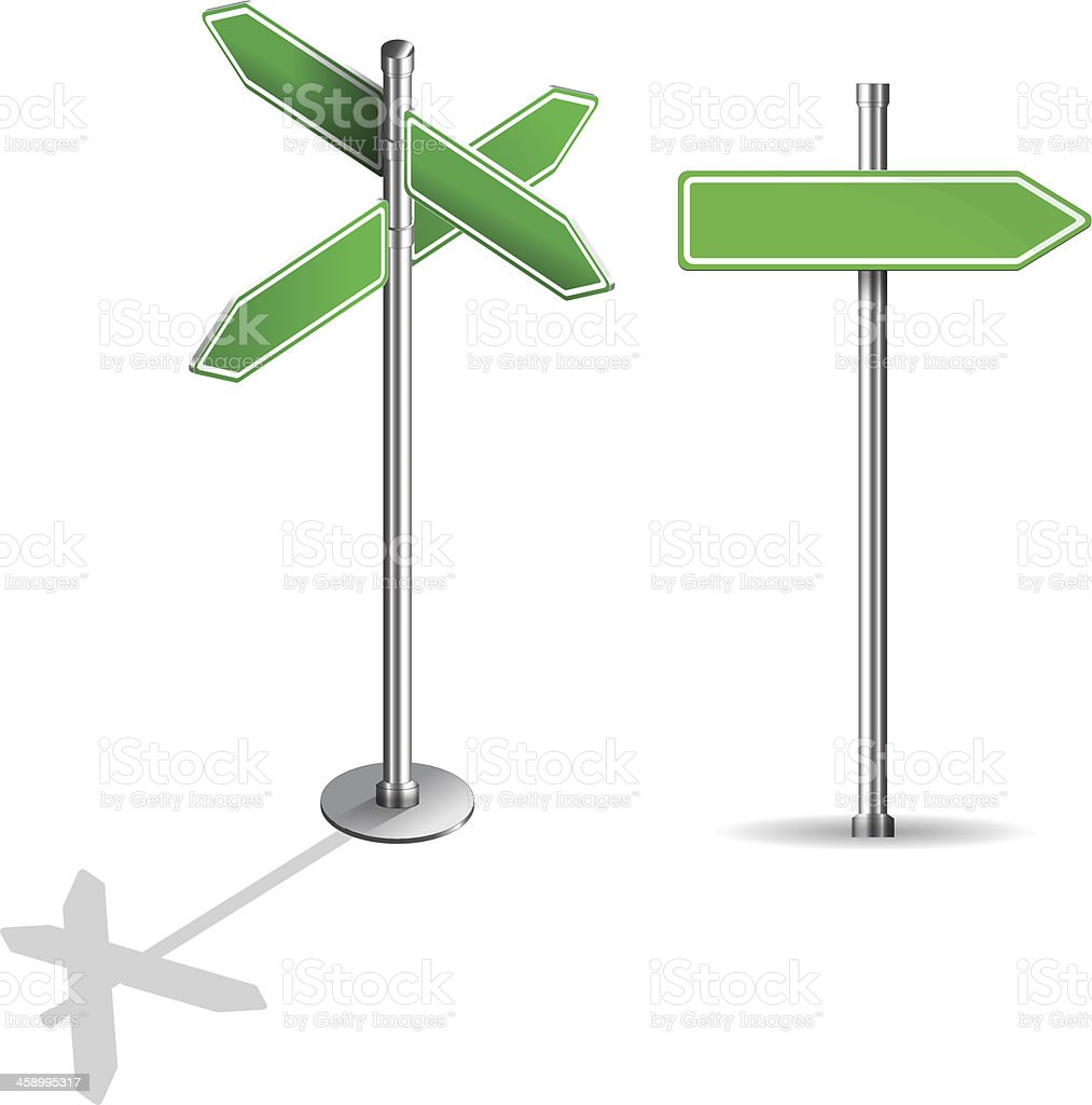 blank signs pointing in opposite directions royalty-free stock vector art