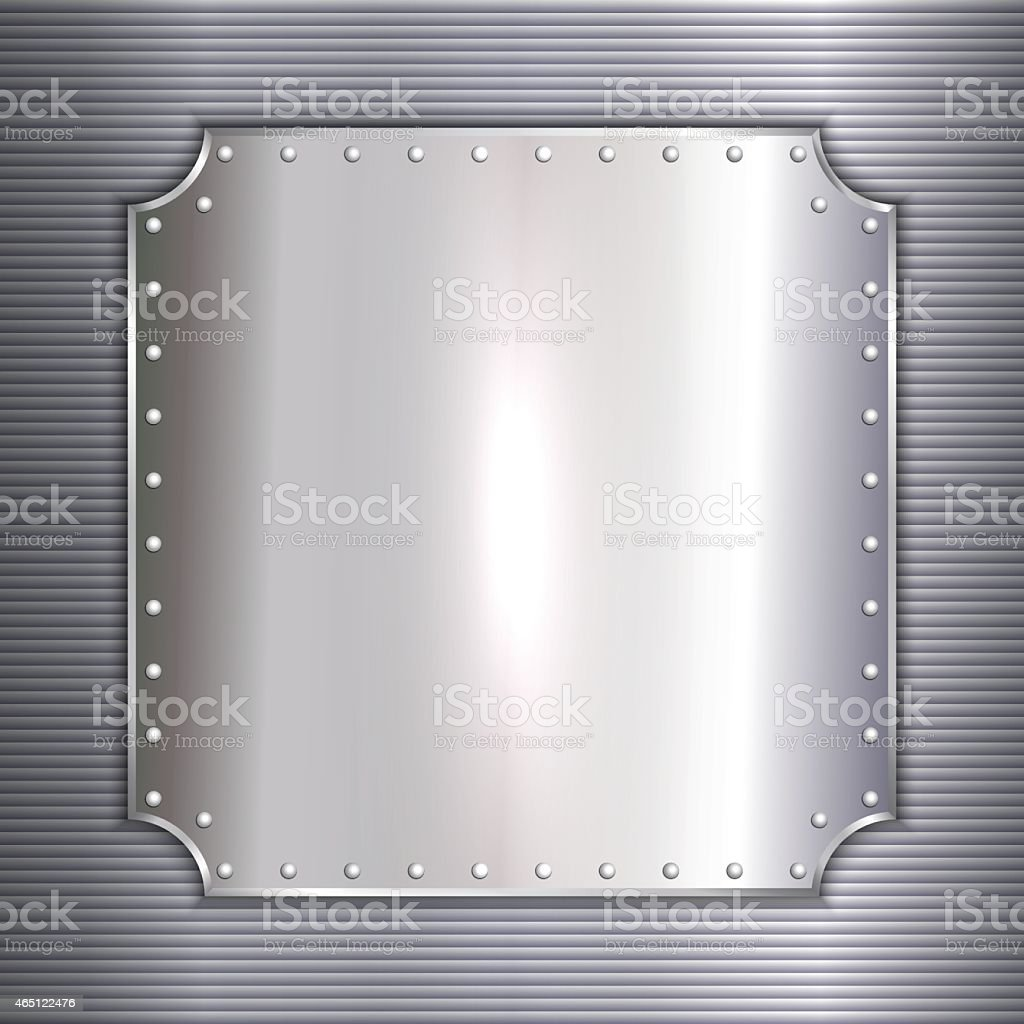 Blank silver metal plate bolted to corrugated wall vector art illustration