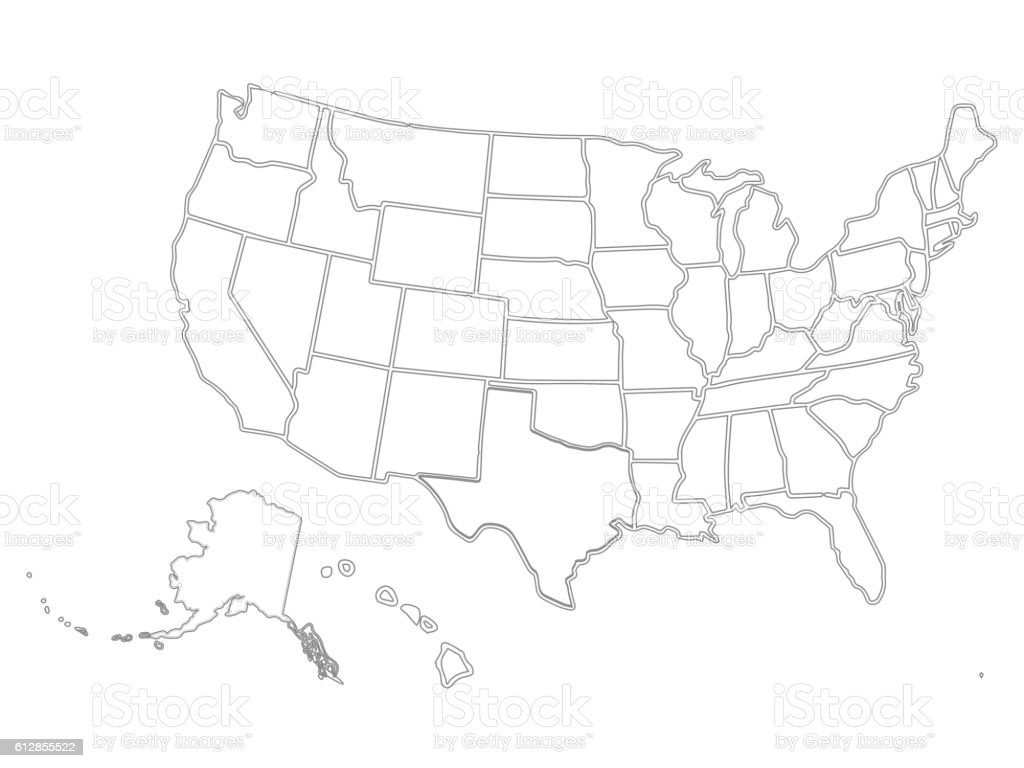 Blank Similar Usa Map Isolated On White Background United States - Drawing of usa map