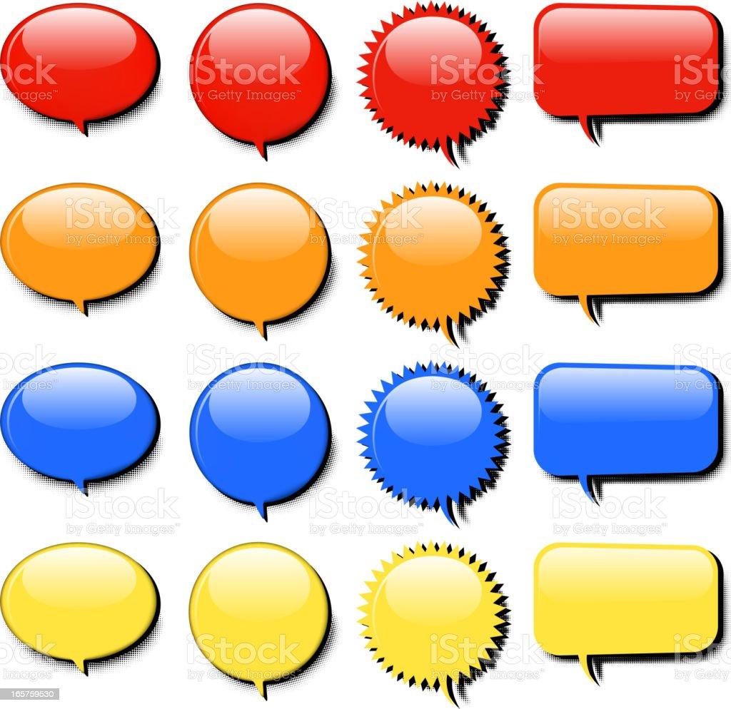 blank speech bubble set vector art illustration