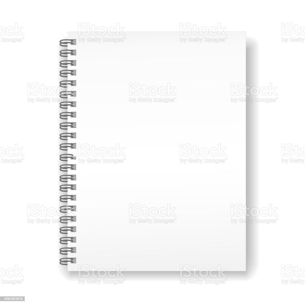 blank spiral notebook vector art illustration