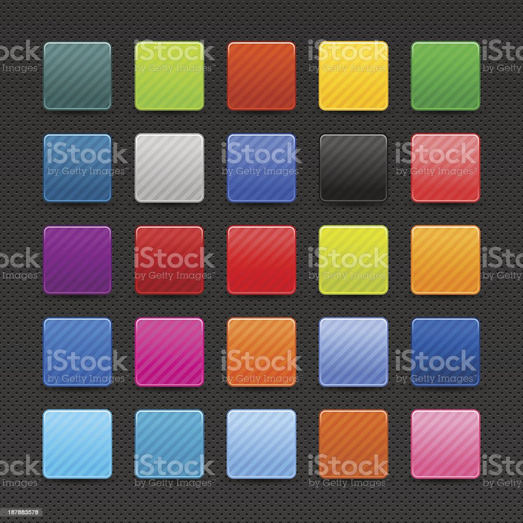 Blank square icon diagonal strips button shadow black perforation texture royalty-free stock vector art