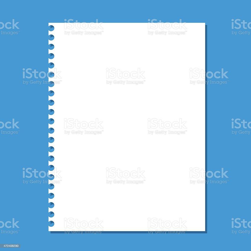 Blank stack white note paper on blue background vector art illustration