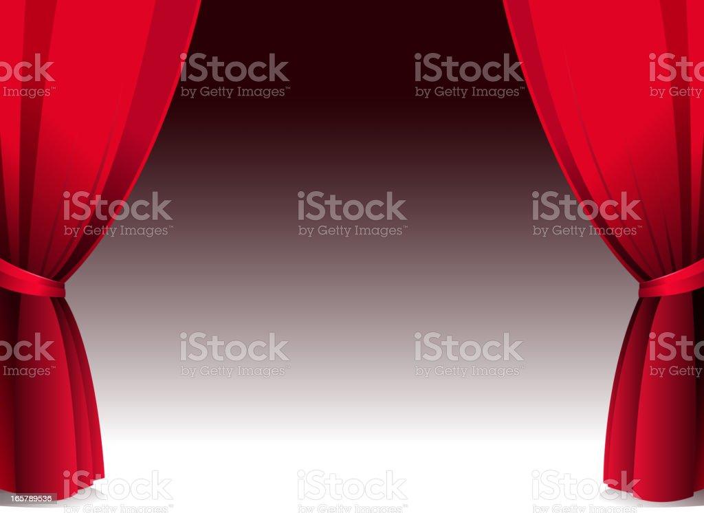 blank stage open curtain vector art illustration