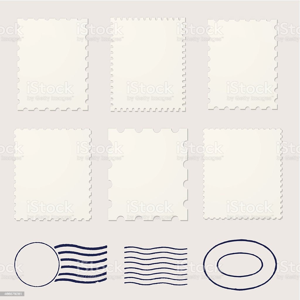 Blank stamps frames vector art illustration