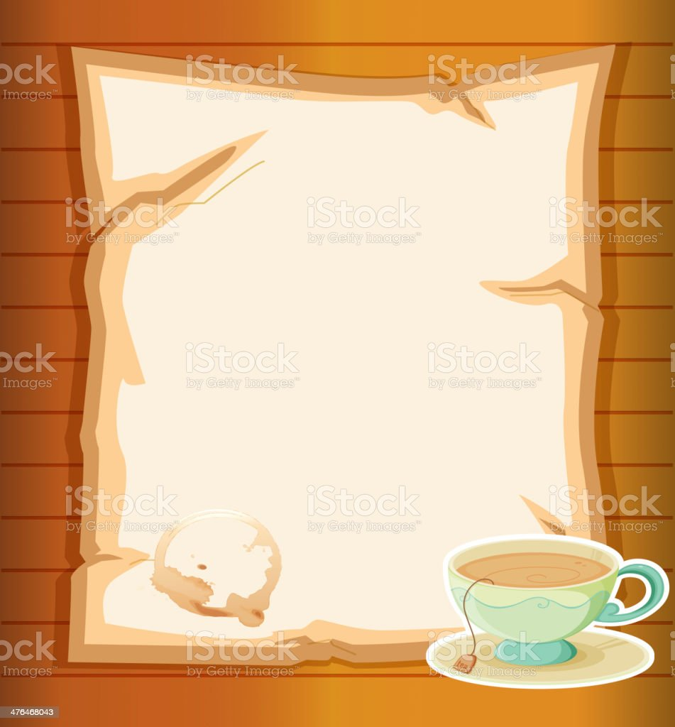 Blank stationery with a cup of tea royalty-free stock vector art