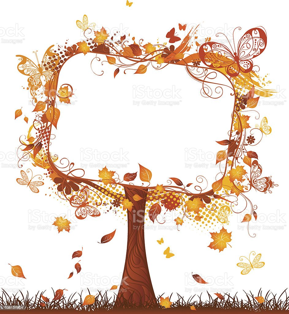 Blank tablet on autumn tree vector art illustration