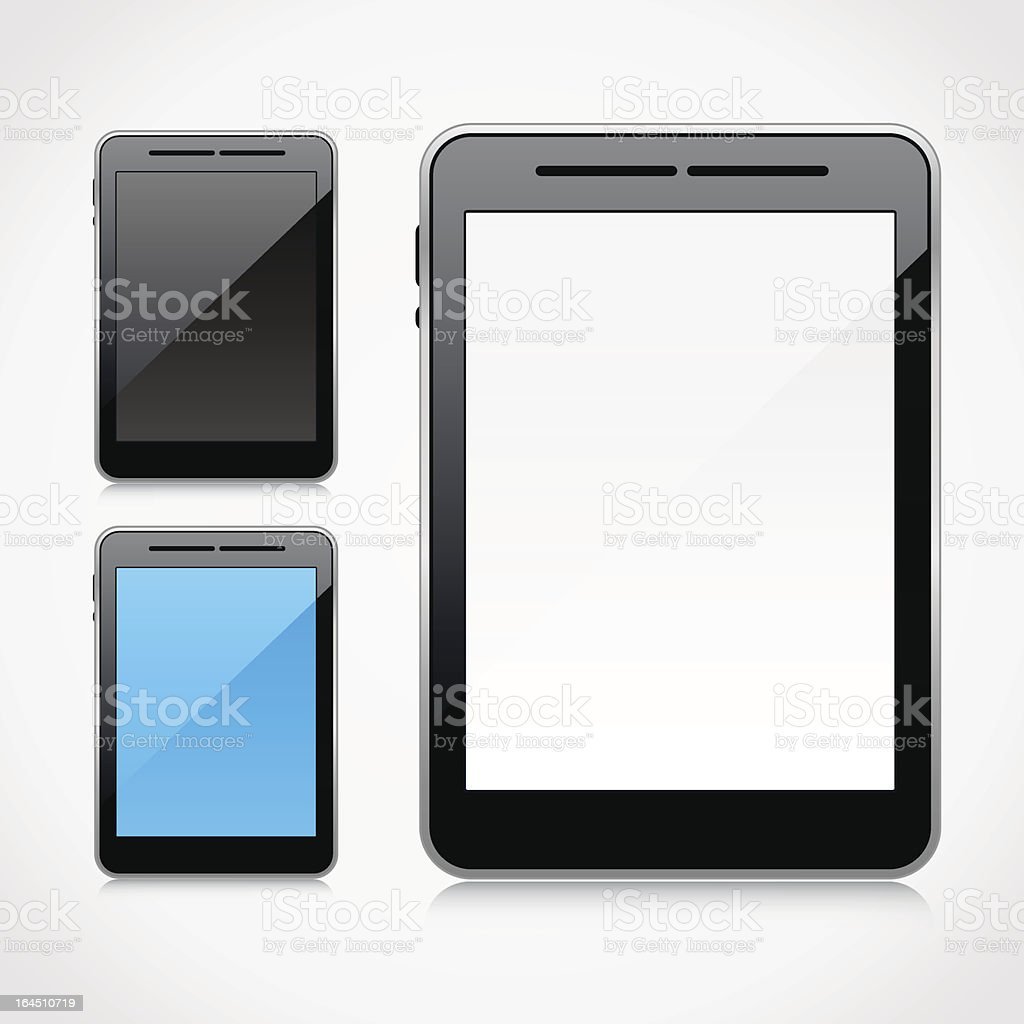 Blank tablet PC collection royalty-free stock vector art