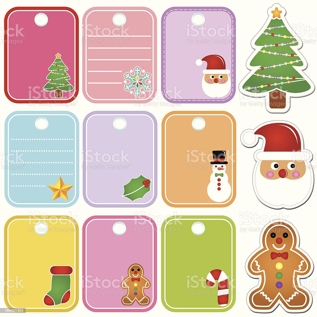 Blank Tag/Label of Christmas Festival - tree decoration, snowman, etc royalty-free stock vector art