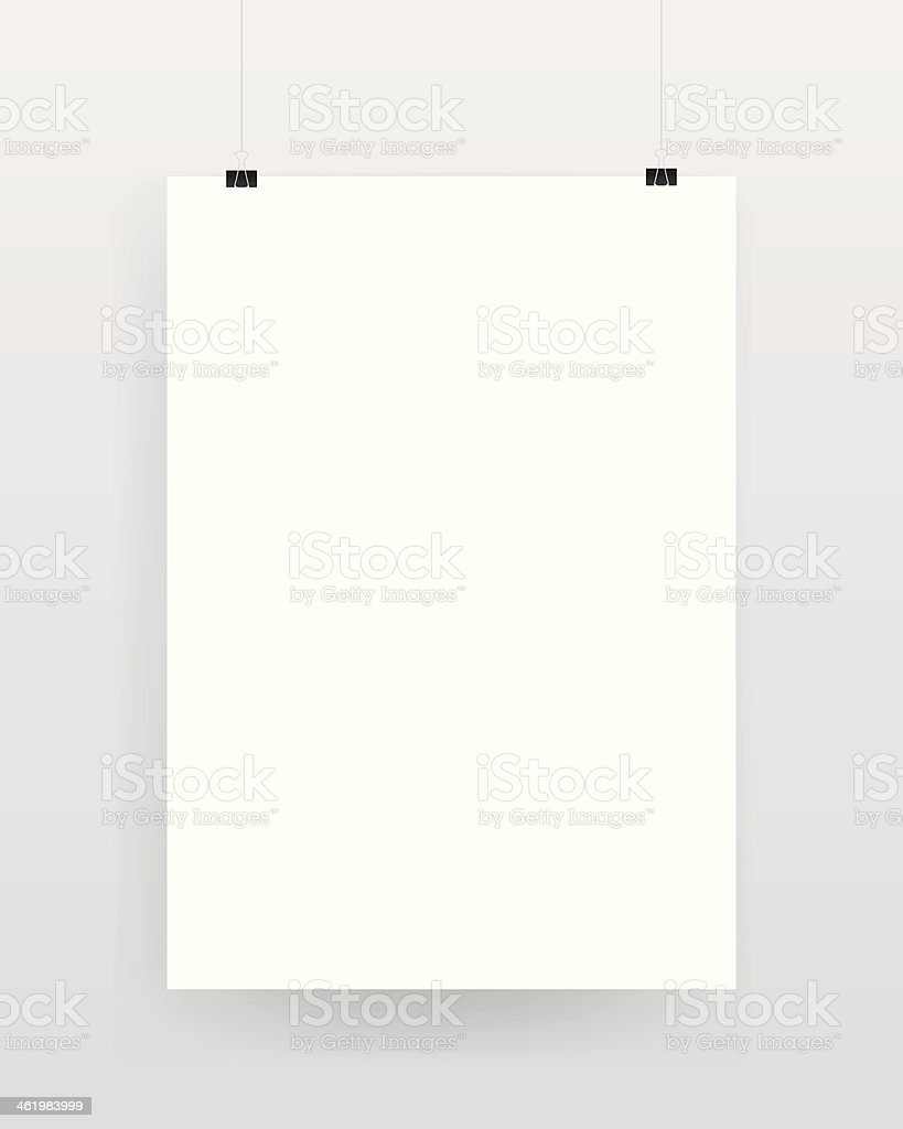 Blank template of a paper sheet on wall vector art illustration