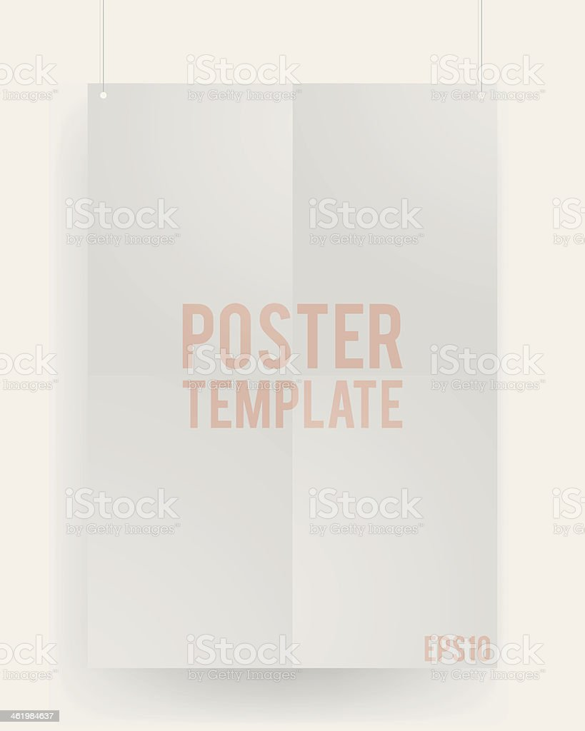 Blank template of a paper sheet on wall royalty-free stock vector art