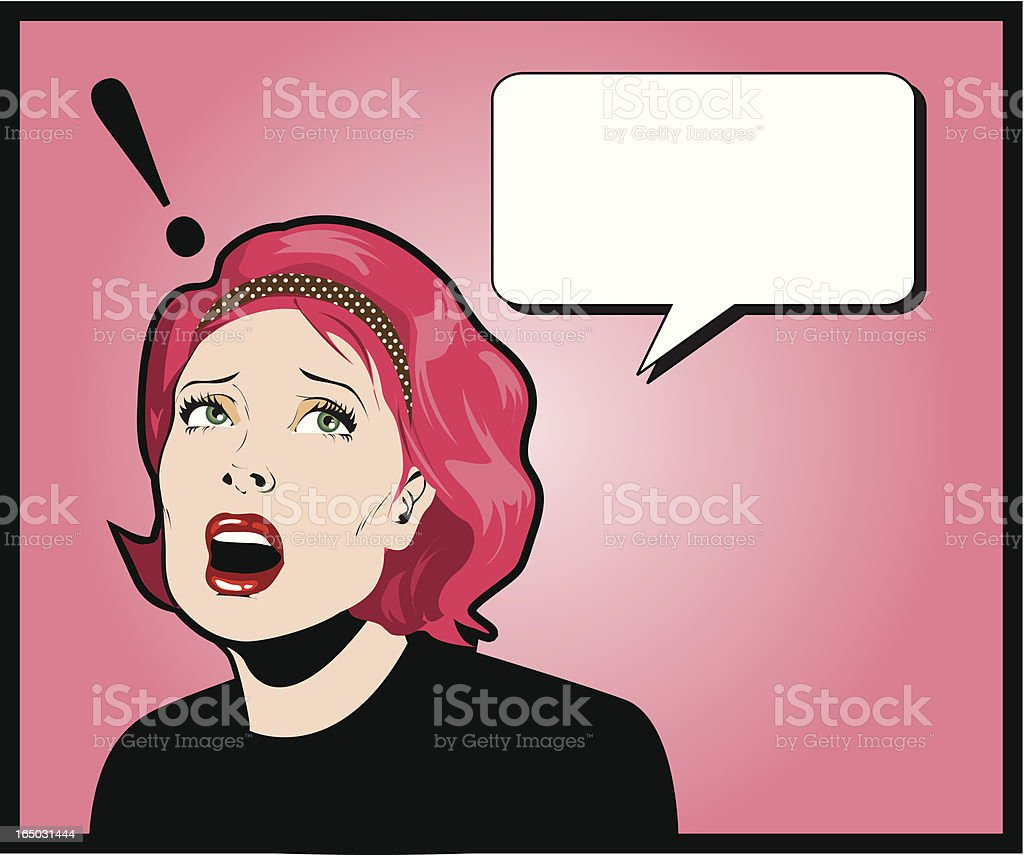 Blank text bubble above a surprised woman with pink hair vector art illustration