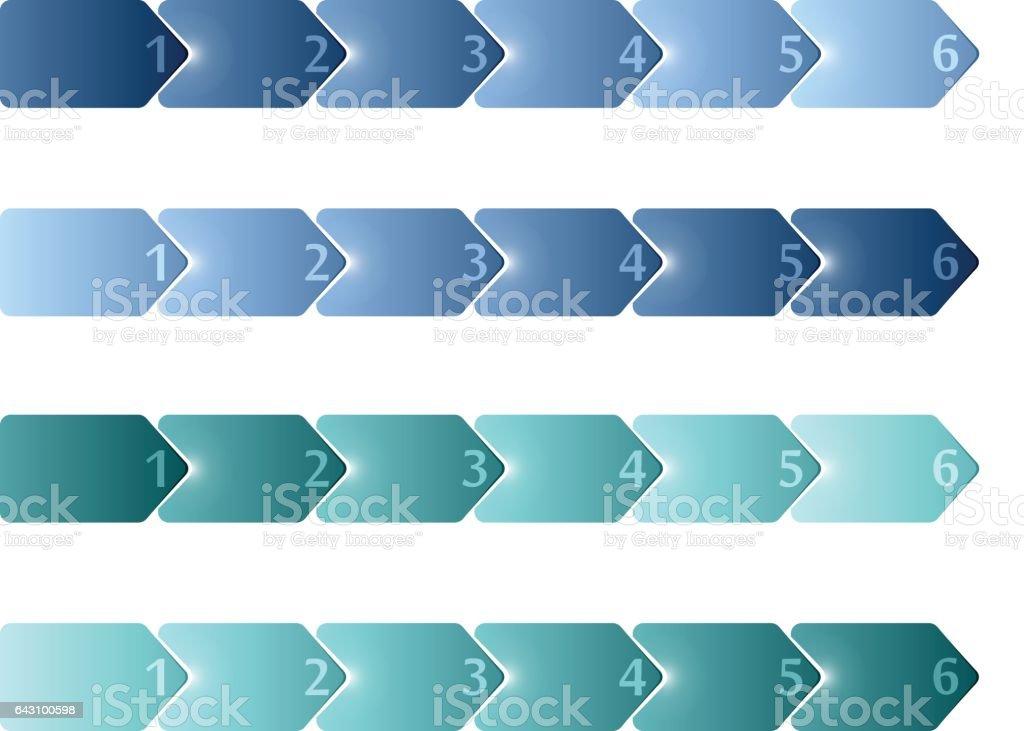 4 Blank Timeline Infographic 6 Steps Stock Vector Art 643100598