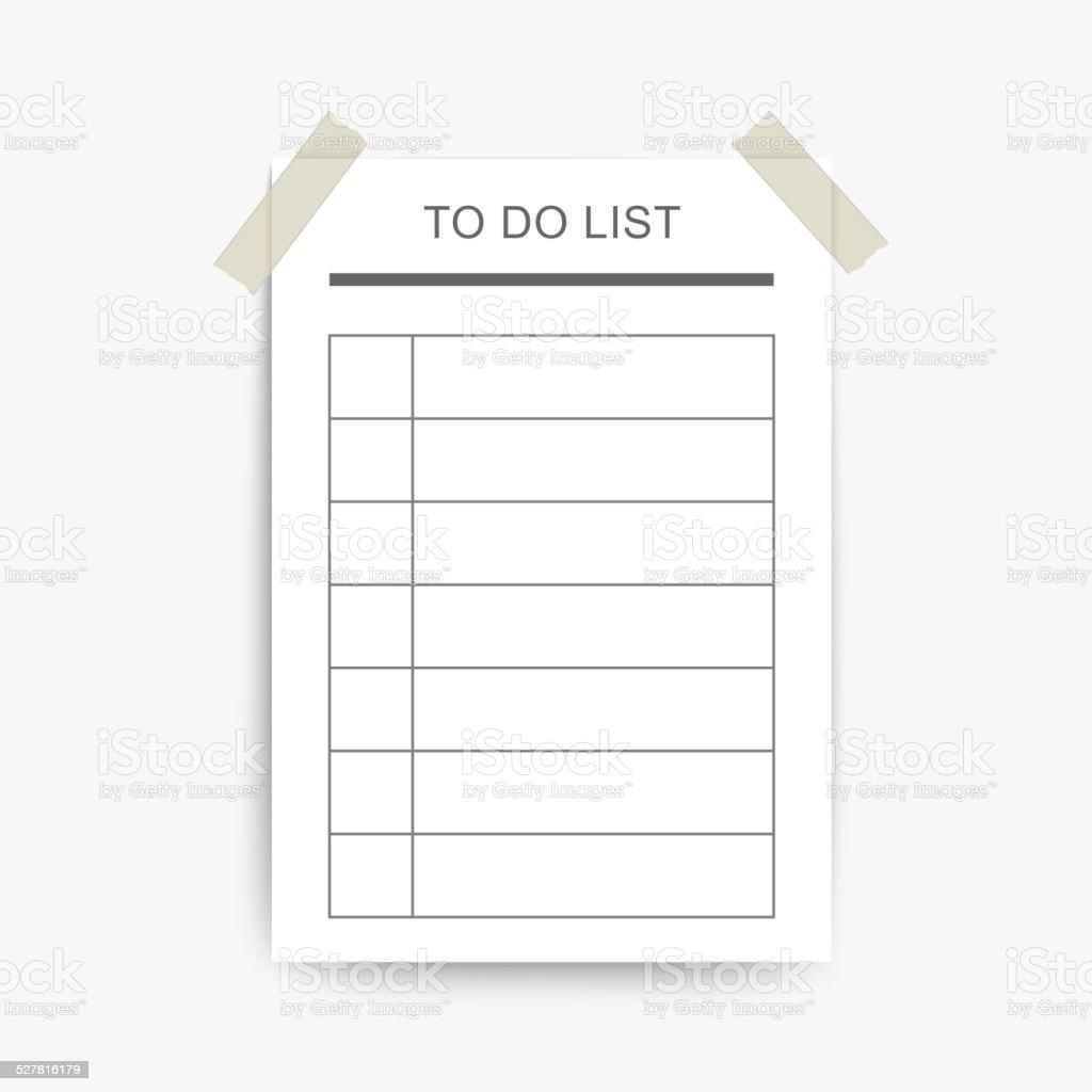 blank to do list vector art illustration