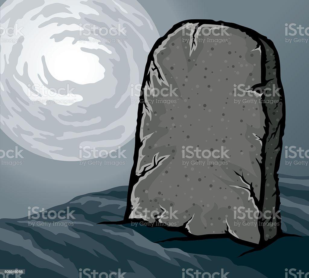Blank Tombstone Lit By Moonlight vector art illustration