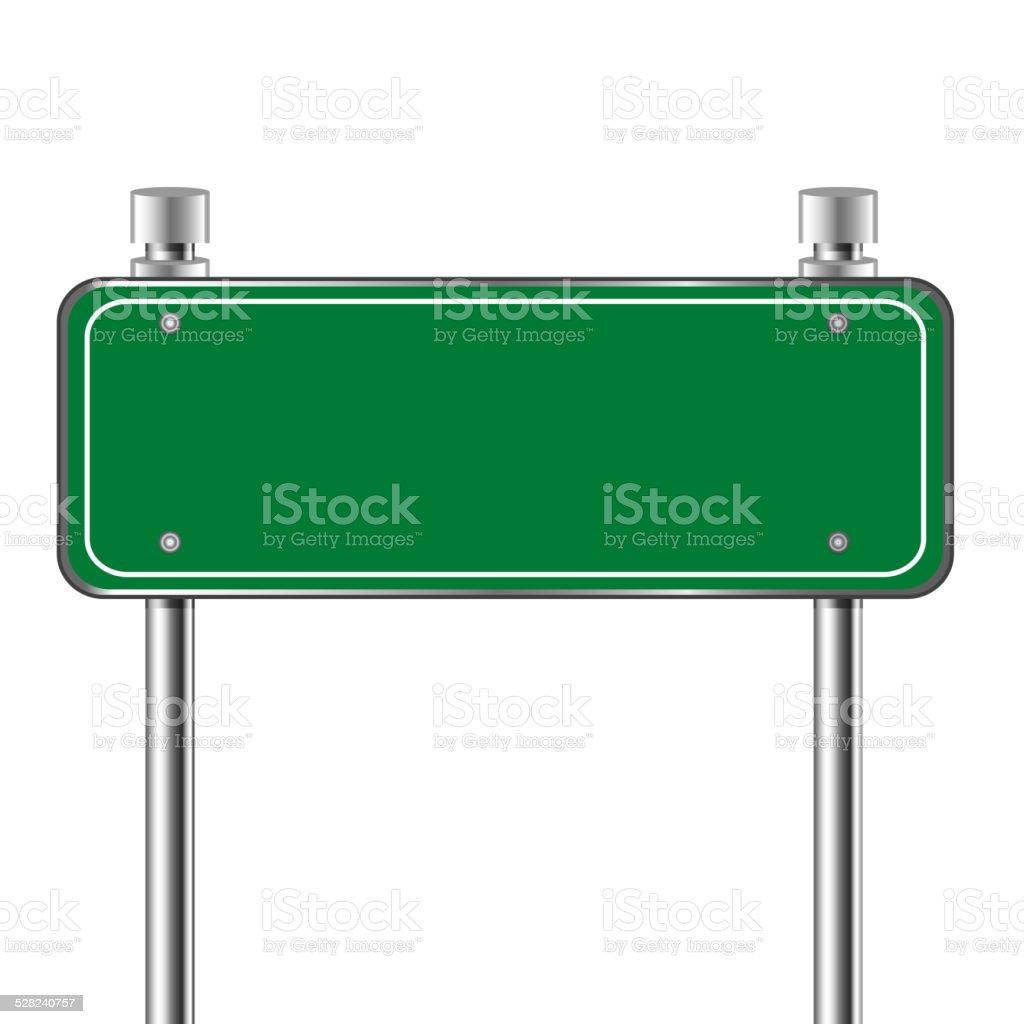 Blank  traffic road green sign vector art illustration