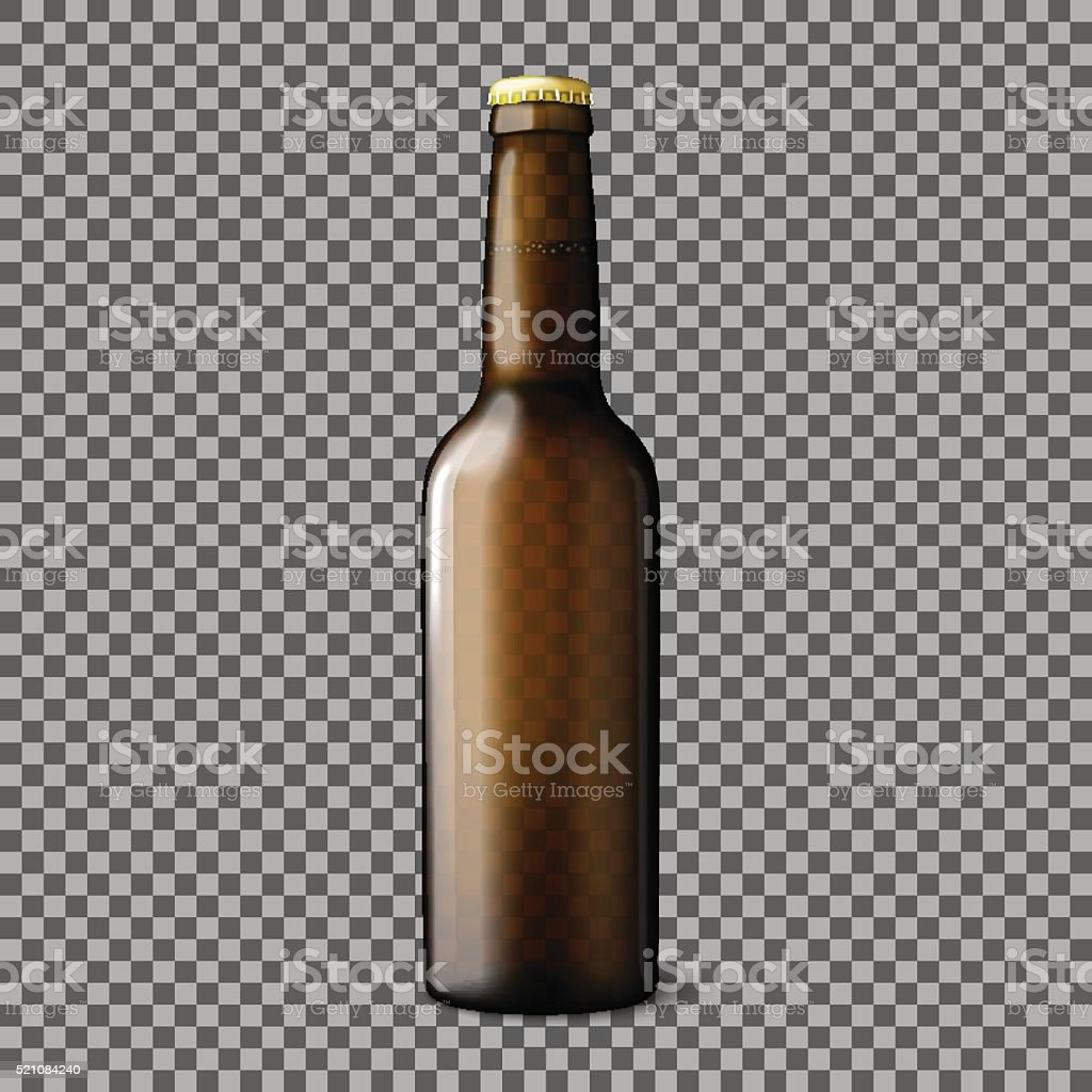 Blank transparent brown realistic beer bottle isolated on plaid background vector art illustration