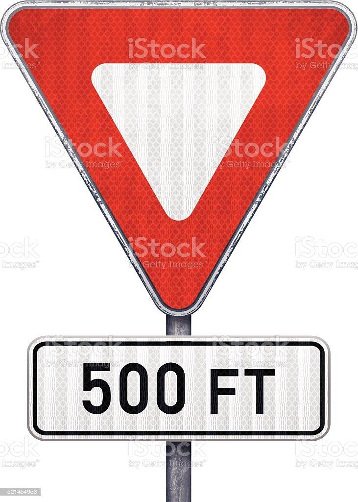 Blank triangular road sign with 500 feet ahead to hazard vector art illustration