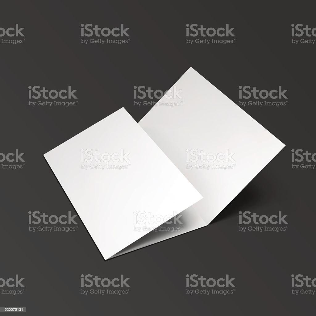 Blank trifold paper brochure. vector art illustration