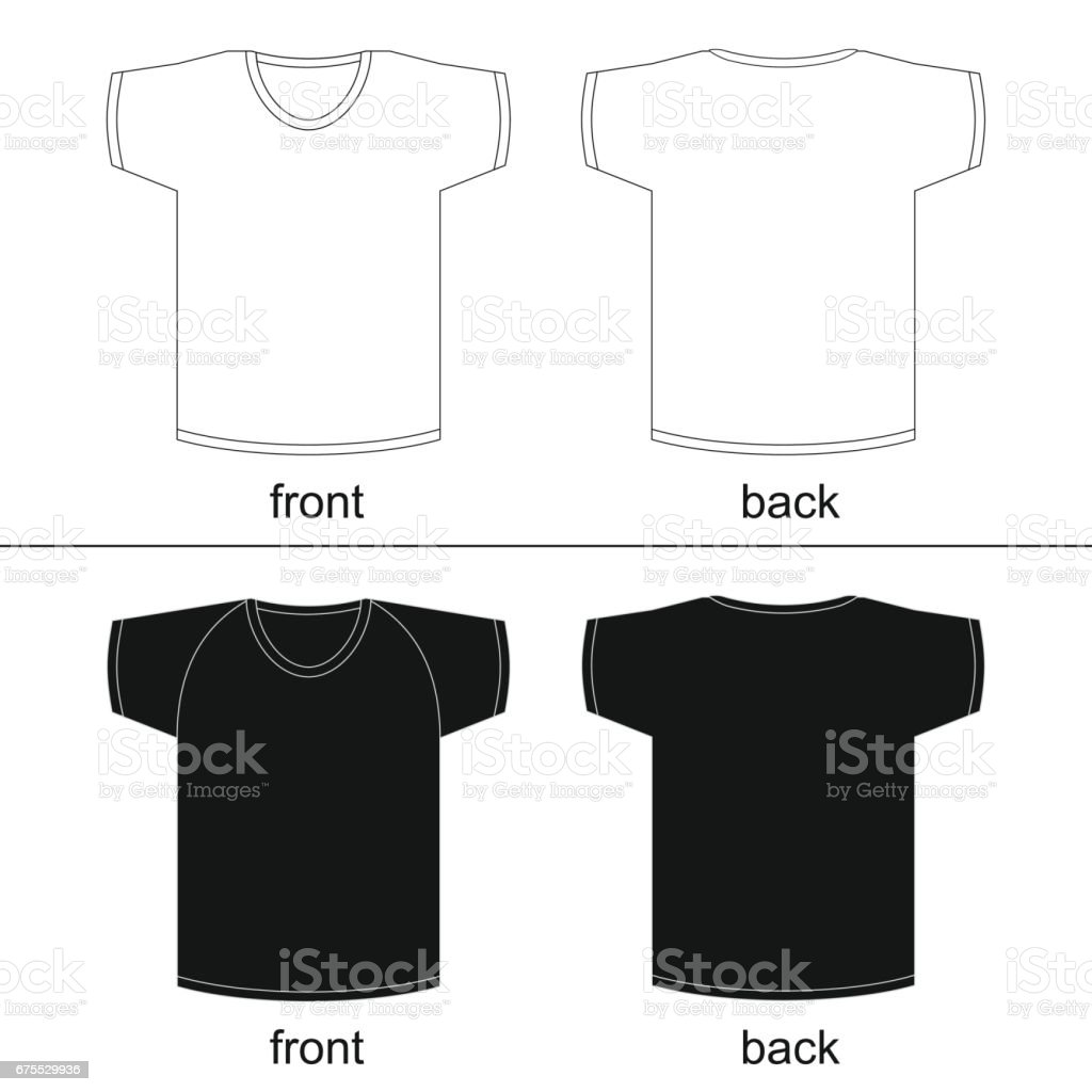 Black t shirt vector front and back - Blank Tshirt Template Front And Back For Printable Vector Fashion