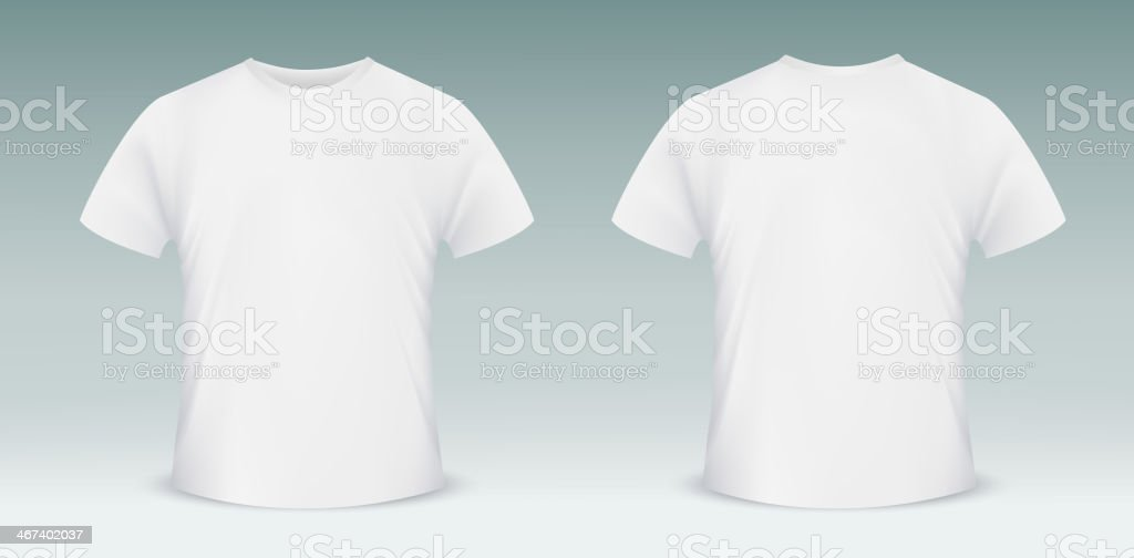 Blank t-shirt template. Front and back side vector art illustration