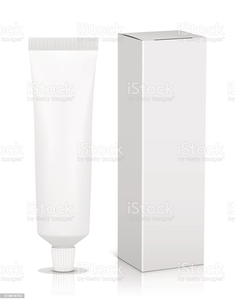 Blank tube with box for toothpaste vector art illustration