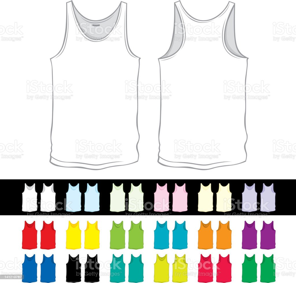 blank undershirt of a different color vector art illustration
