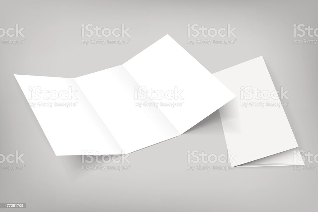 blank vector tri fold mockup on gray vector art illustration