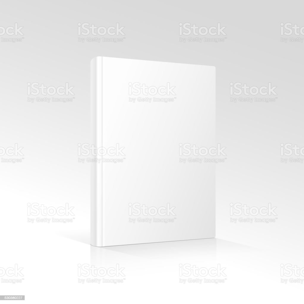 Blank vertical book cover template standing on white surface   Vector vector art illustration