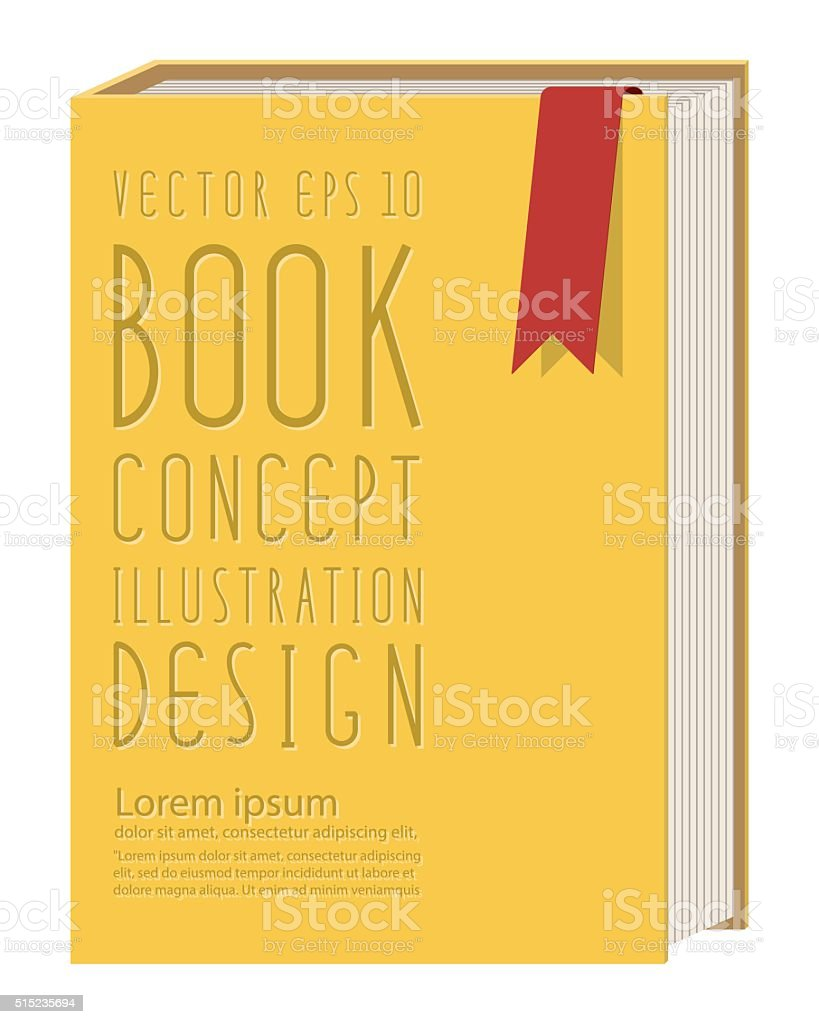 Blank vertical book cover template standing on yellow surface fl vector art illustration