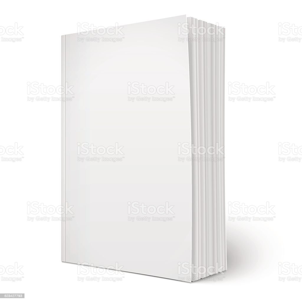 Blank vertical softcover book template with pages. vector art illustration