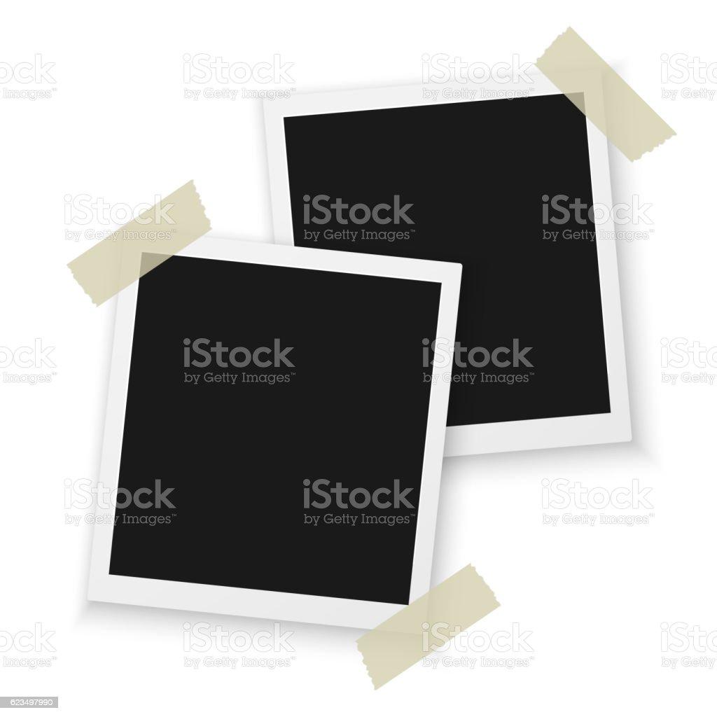 Blank Vintage Photo Frame Mockup Isolated on a White Background. vector art illustration