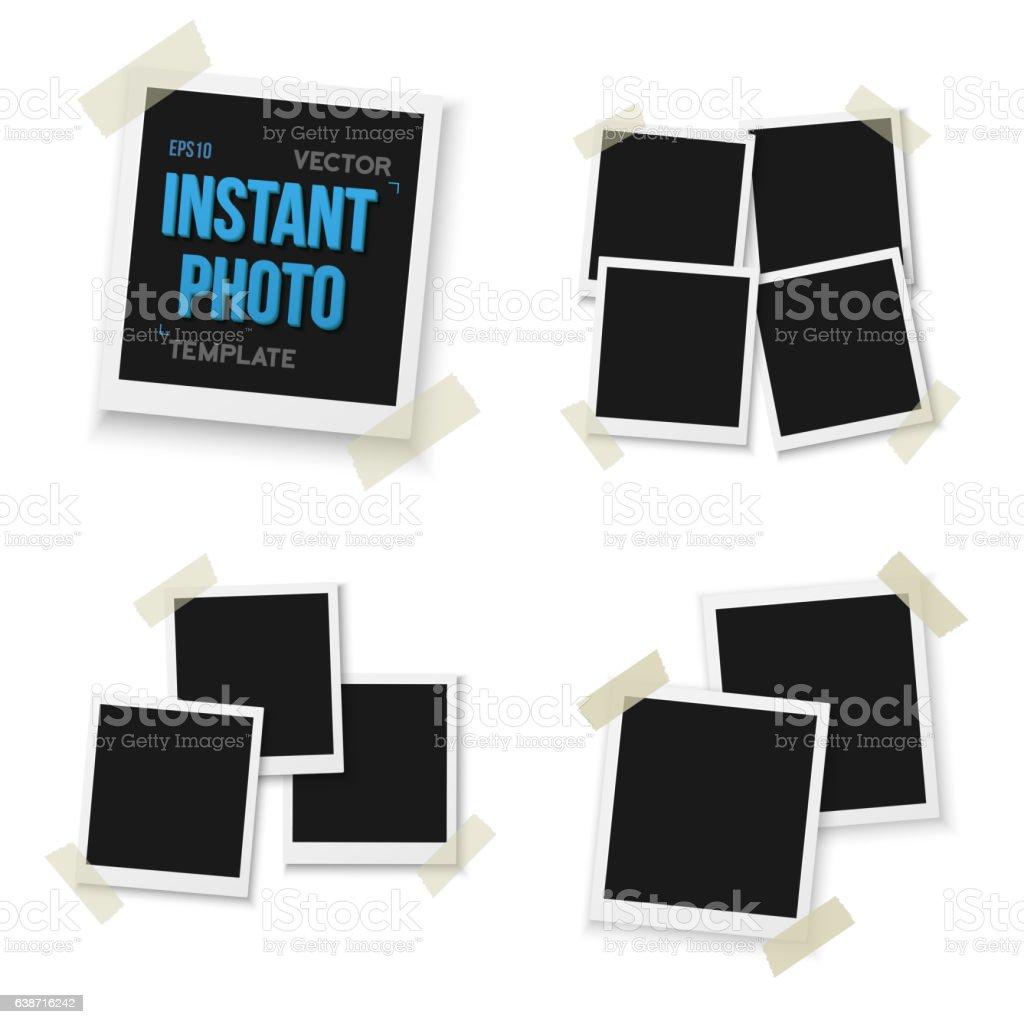 Blank Vintage Photo Frame Mockup Set Isolated on White Background vector art illustration