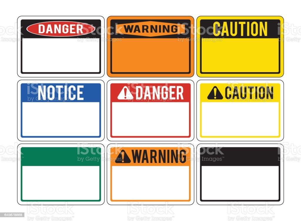 Blank warning signs. Set of warning signs about the dangers. Danger. vector art illustration