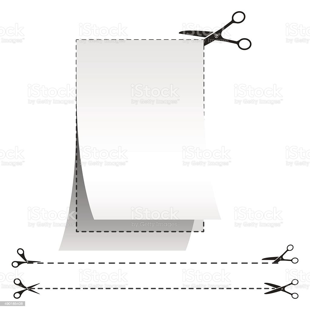 Blank white advertising coupon cut from sheet of paper. vector art illustration
