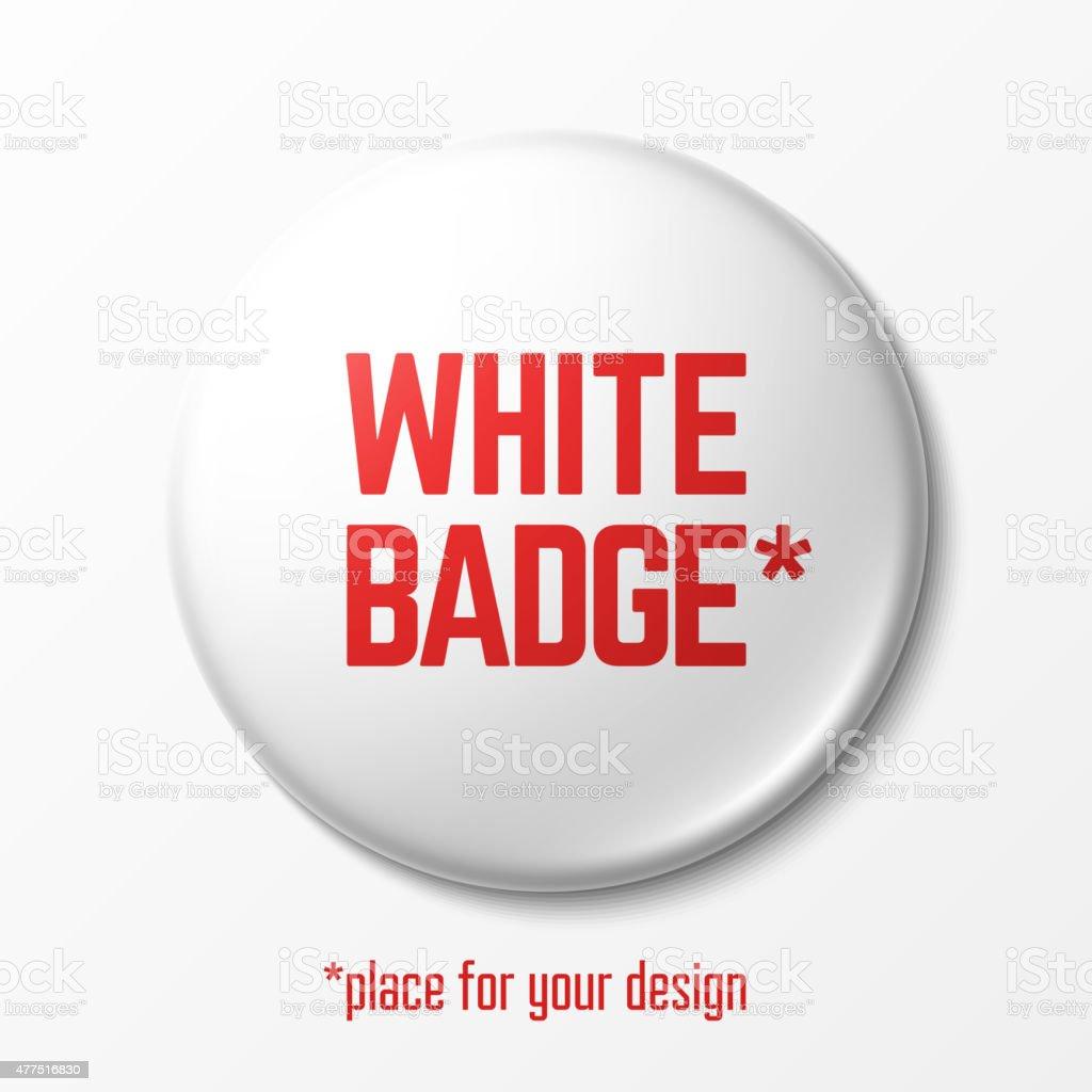Blank white badge vector art illustration