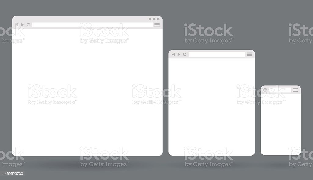 Blank white browser windows for different devices vector art illustration