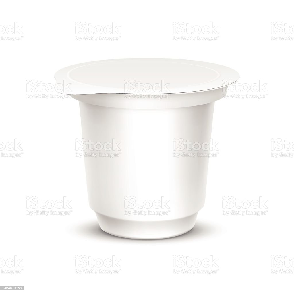 Blank white circular packaging container vector art illustration