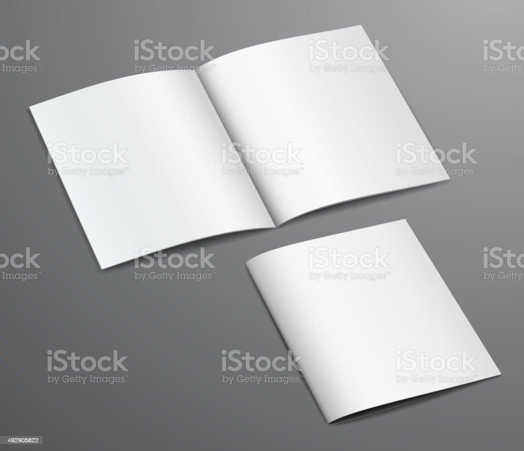 Blank white closed and open brochure magazine, isolated on dark vector art illustration